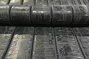 strip rubber is waiting in rubber factory