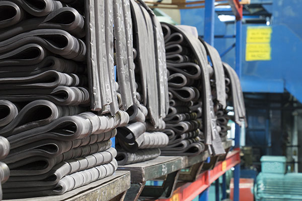 rubber raw material on shelves